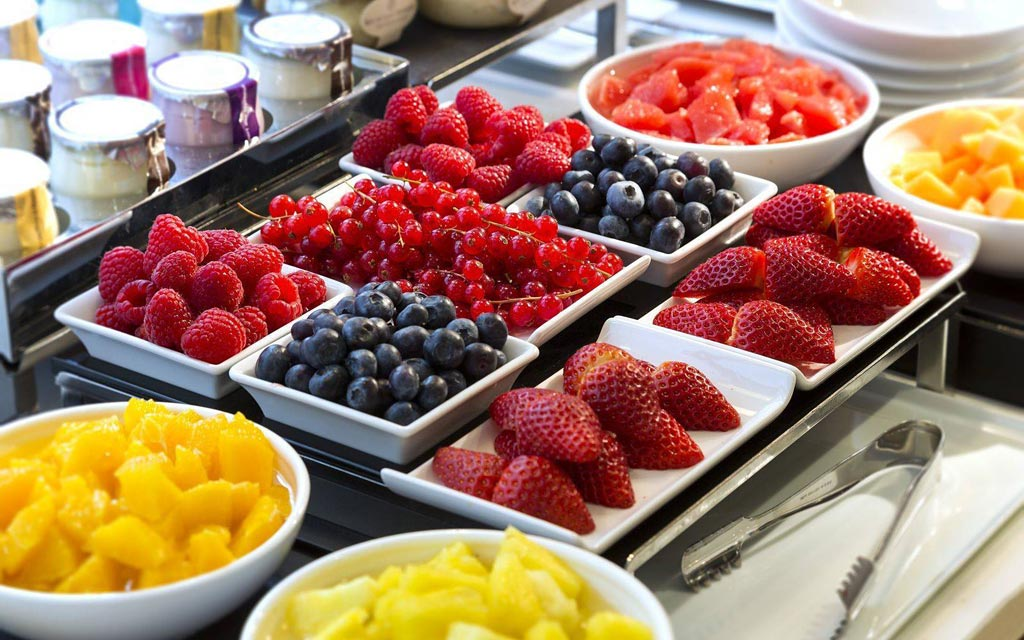 Fruit selection at breakfast
