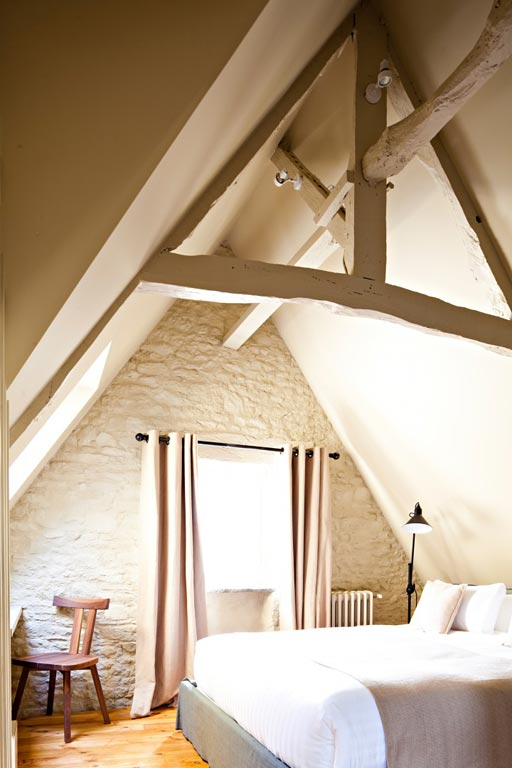 White painted attic beams